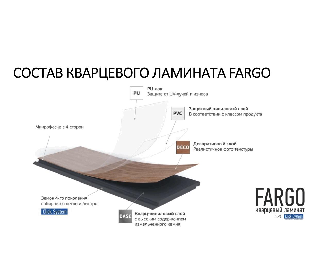 "Кварцевый ламинат SPC Fargo Comfort VL 88042-001""Дуб Шервуд"" (1220*180*4 мм) 10шт/2,196м2"